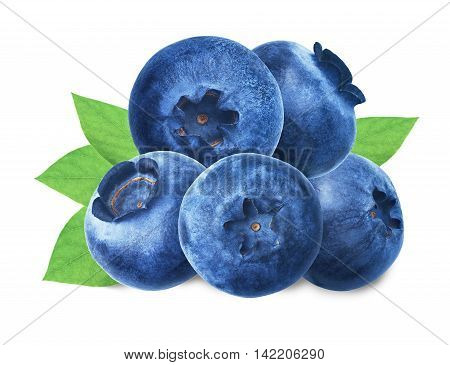 Juicy and fresh blueberries with green leaves on white background. Blue color blueberries close-up. Image of blueberries with high resolution. Blueberry antioxidant. Useful blueberries for vision.