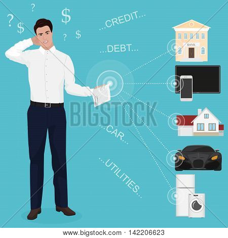 Man businessman feeling bad worried stress at home couch accounting bank bills dept papers expenses and car payments. Unpaid bills concept for web poster
