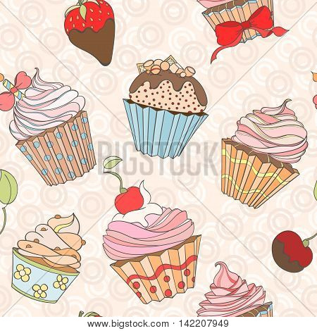 Cupcakes colorful seamless pattern can be used for wallpaper, website background, wrapping paper. Cupcake sweat bright pattern. Sweat desert design. Food concept.