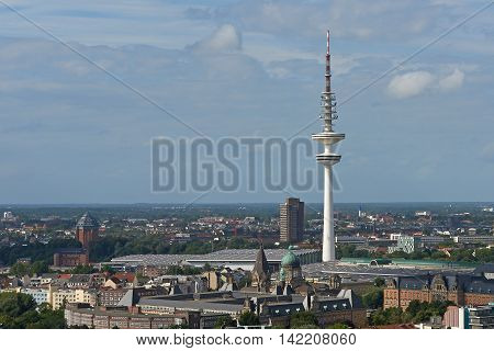 Aerial view of Hamburg city Germany on a sunny day