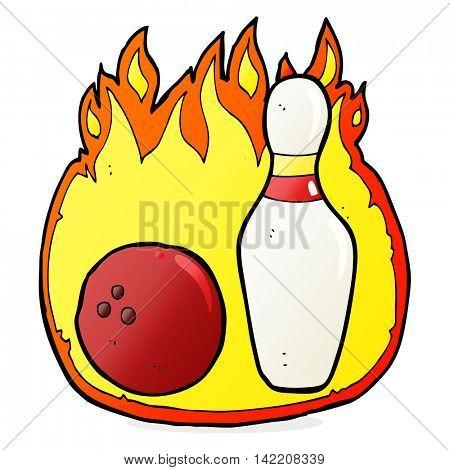 ten pin bowling cartoon symbol with fire