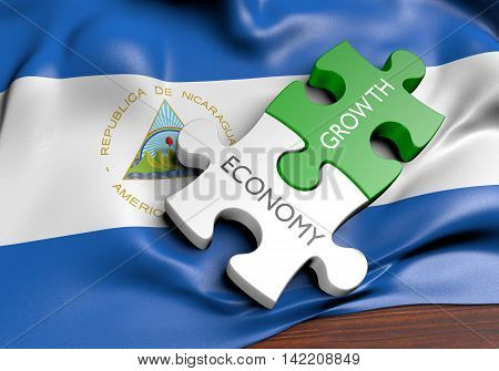 Nicaragua economy and financial market growth concept, 3D rendering