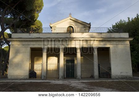 ROME ITALY - AUGUST 2 2016: Casina di Raffaello ancient famous villa constructed at the beginning of the 17th century for Cardinal Scipione Caffarelli Borghese nephew of Pope Paul V which is surrounded by one of the largest and most beautiful Roman public