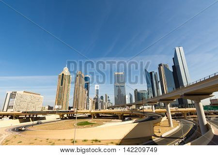 Burj  tallest building in the world on DECEMBER 31 2015 in Dubai UAE. Dubai cityscape.Dubai Downtown skyline.