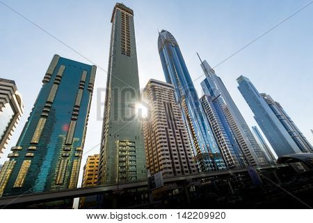 Burj Khalifa tallest building in the world on DECEMBER 31 2015 in Dubai UAE. Dubai cityscape.Dubai Downtown skyline.