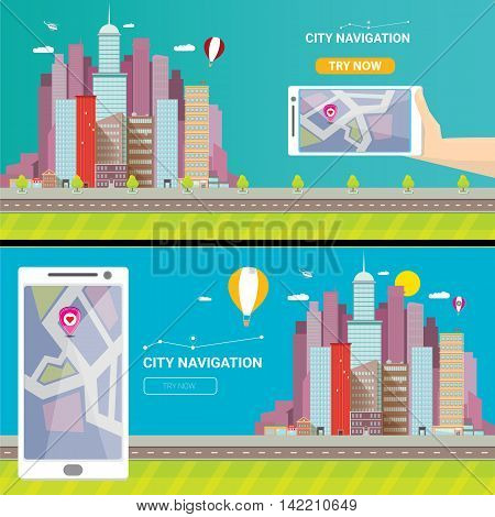 City internet navigation concept web banner. Panoramic flat city and navigation app on mobile screen. GPS navigation on mobile phone with pin and map. Panorama city view flat style