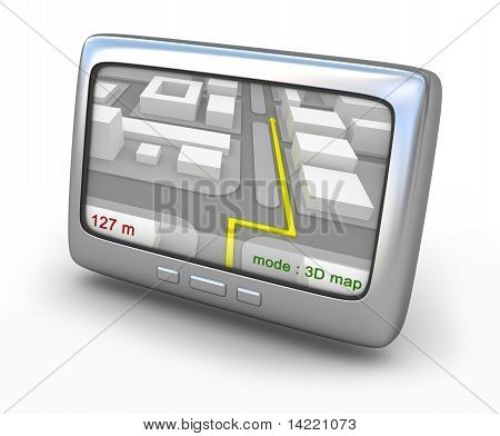 Navigator gps with route on the screen isolated on white