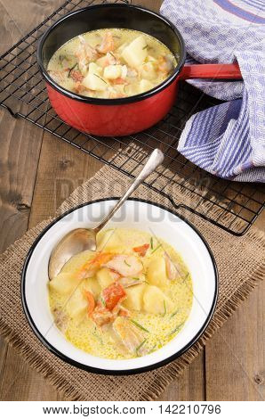 cullen skink typical scottish food with smoked haddock potato onion and chive in a bowl