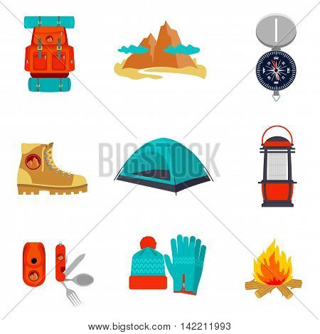 Set of camping equipment icons and symbols, sketch style illustration isolated on white background. Backpack tent compass lantern hiking boots fire pocket knife hat and gloves