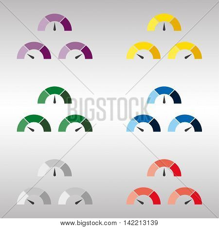 Set of multicolor speedometer or rating meter signs infographic gauge element on a gray background