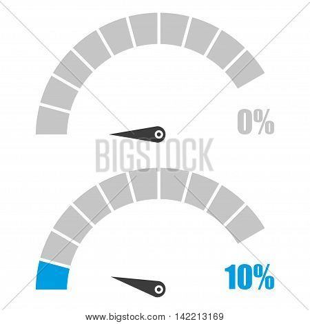 Set of speedometer or rating meter signs infographic gauge element with percent 0 10
