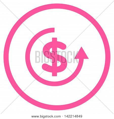 Refund vector icon. Style is flat rounded iconic symbol, refund icon is drawn with pink color on a white background.