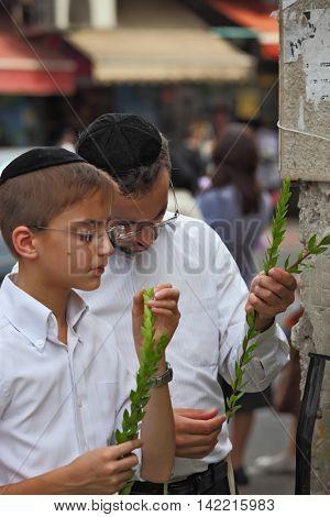 BNEI- BRAK, ISRAEL- SEPTEMBER 22, 2010: The group of Jewish boys in velvet skullcaps chooses ritual plant  before the holiday of Sukkot. Holiday city market