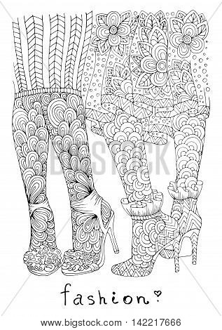Vector hand drawn line of  two girls sexy legs in fashionable high heels shoes. Fashion illustration. Pattern for coloring book A4 size. Coloring book for adults. Zentangle drawing.