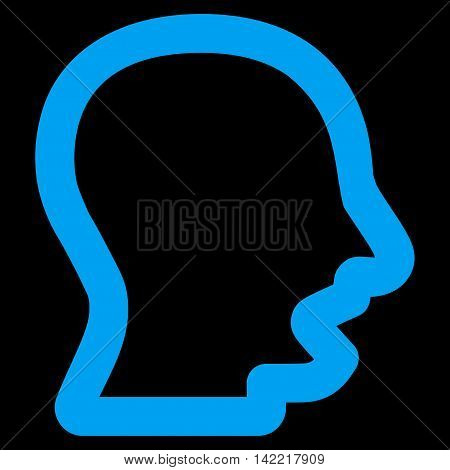 Yawning Head vector icon. Style is contour flat icon symbol, blue color, black background.