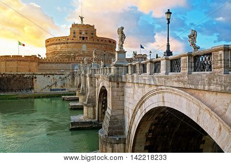 Bridge Sant'Angelo over Tiber River in Rome