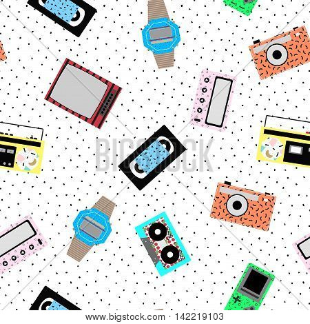 Memphis hipster pattern - seamless. Vector background of retro video cassettes, tape recorder, clocks, tetris, TV, tape cassettes, pager. Retro memphis style, fashion 80-90s.
