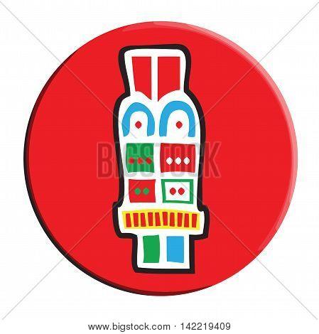 Aztec Calendar Symbol Acatl Reed Icon Button
