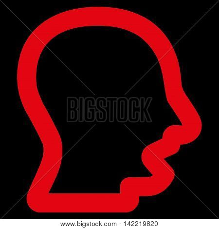 Yawning Head vector icon. Style is stroke flat icon symbol, red color, black background.