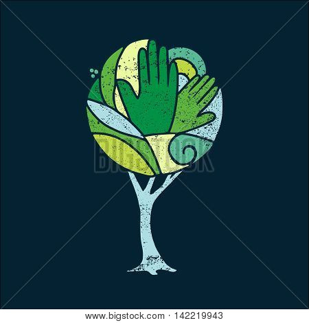 Green Concept Tree Of People Hands For Nature Help