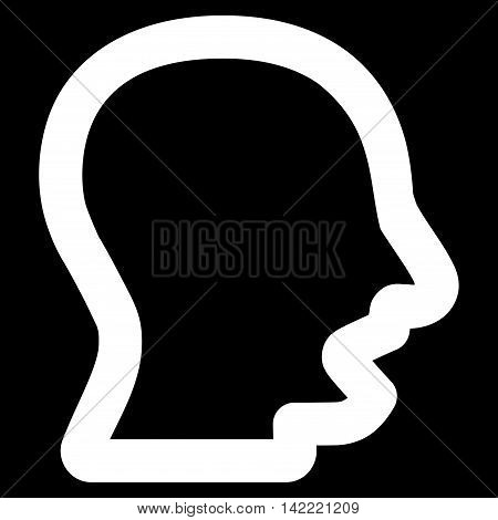 Yawning Head vector icon. Style is linear flat icon symbol, white color, black background.