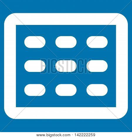 Table Grid vector icon. Style is linear flat icon symbol, white color, blue background.