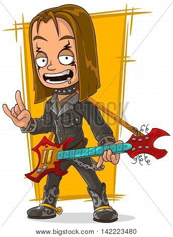 A vector illustration of cartoon long hair rocker in black leather jacket