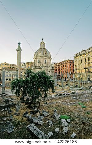 Columns And Church At Trajan Forum In Rome In Italy