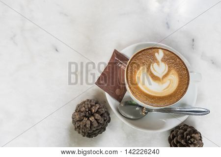 hot fresh coffee in white cup on marble table and white saucer sugar and cream cappuccino coffee mocha coffee espresso coffee latte coffee