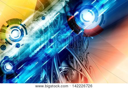 3D rendering, futuristic background for banner