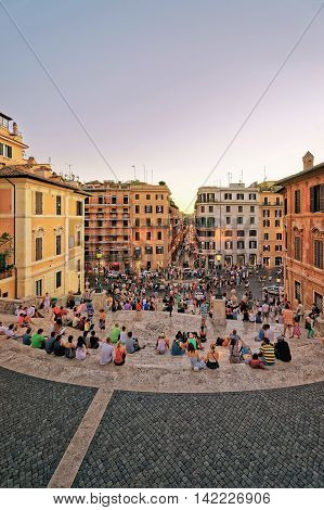 Tourists And Spanish Steps At Square Of Spain Rome Italy