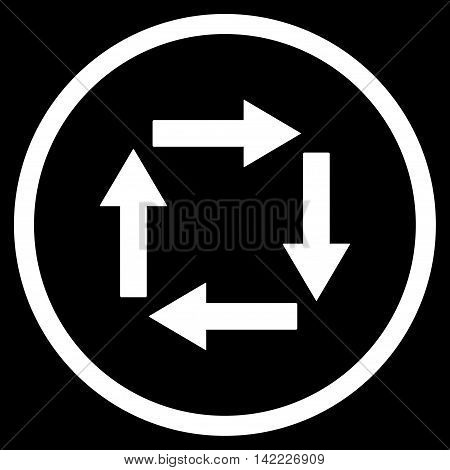 Circulation Arrows vector icon. Style is flat rounded iconic symbol, circulation arrows icon is drawn with white color on a black background.