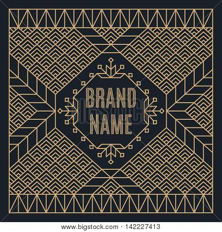 Art deco design template for vintage logo, label or badge. Luxury gold linear frame. Nouveau epoch 1920's gangster era vector. Identity design for store, shop, restaurant, boutique, fashion.