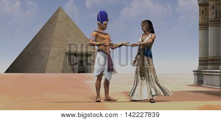 Egyptian Queen Pharaoh Temple 3D Illustration - A Pharaoh talks with his queen near a pyramid and temple in the Old Kingdom of Egypt.