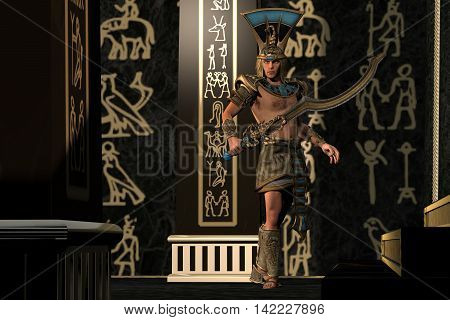 Egyptian Scorpion God 3D Illustration - Egyptian people throughout history believed in many different gods in the Old Kingdom.