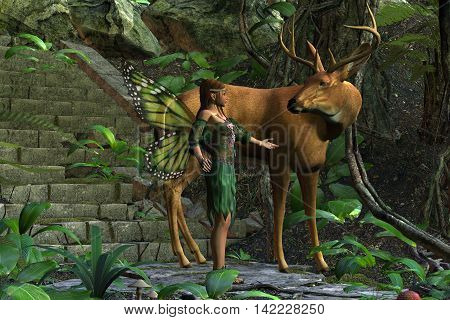 Fairy and Buck 3D Illustration - A beautiful fairy tries to make friends with a magnificent whitetail deer with antlers.