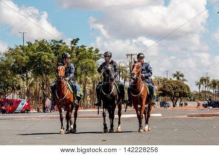 Brasilia, Brazil-August 4, 2016: Brazilian Police Officer on Horseback Patrolling Outside the Mané Garrincha Stadium for the 2016 Rio Olympic Games