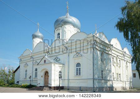 Pokrovsky Cathedral Zverin-Pokrovsky monastery closeup of a Sunny day in July. Veliky Novgorod, Russia