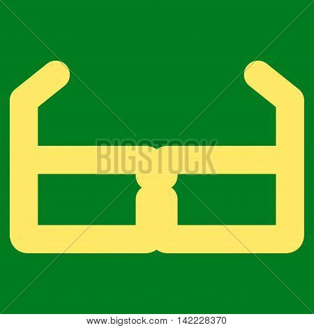 Spectacles vector icon. Style is contour flat icon symbol, yellow color, green background.