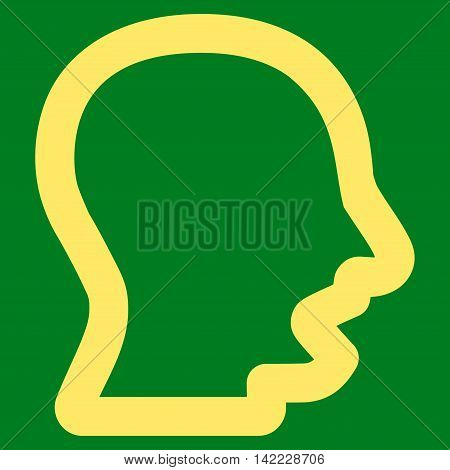 Yawning Head vector icon. Style is stroke flat icon symbol, yellow color, green background.