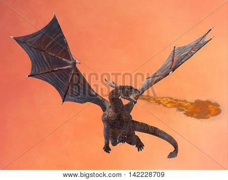 Red Hell Dragon 3D Illustration - The fire-breathing dragon is a creature of myth and legend and has horns wings and large wicked teeth.