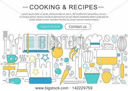 Vector elegant thin line flat modern Cooking and kitchen recipes concept. Website header banner elements layout. Presentation, flyer and poster