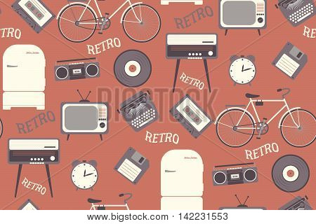 Seamless pattern with 80s years old objects. Retro style flat design red background. Can be used as page fill fabric or paper. Vector illustration.