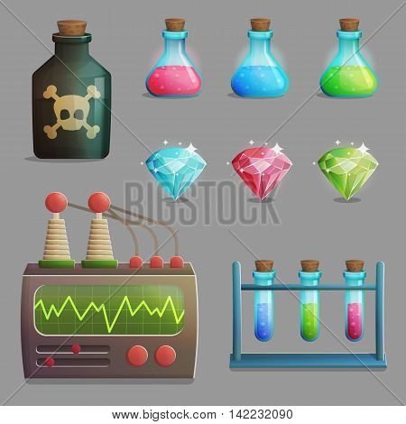 A collection of items for mad evil professor human experiment laboratory design. Test tubes, poison bottle, lab equipment, gemstones and other spooky elements for game and app design.