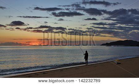Sunrise in the Abel Tasman National Park New Zealand. Totaranui Beach.