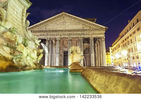Night View of Fontana di piazza della Rotonda and Pantheon in Rome
