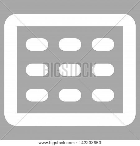Table Grid vector icon. Style is stroke flat icon symbol, white color, silver background.