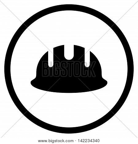 Builder Hardhat vector icon. Style is flat rounded iconic symbol, builder hardhat icon is drawn with black color on a white background.