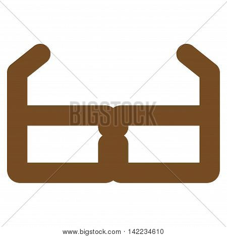 Spectacles vector icon. Style is stroke flat icon symbol, brown color, white background.
