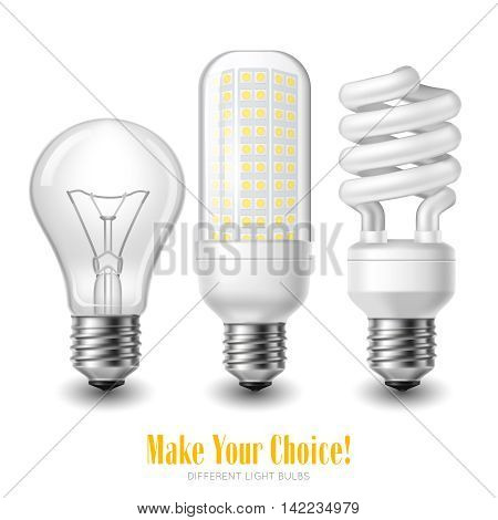 Three led lightbulbs of different shape on white background realistic isolated vector illustration